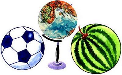 Мяч, глобус, арбуз